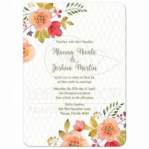 floral wedding invitation olive green and pink With cute wedding invitation with watercolor flowers