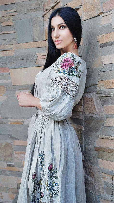 Купить Эксклюзивное льняное платье с вышивкой и росписью ...