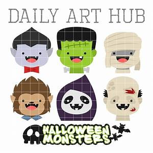 Cute Halloween Monster Heads Clip Art Set – Daily Art Hub ...