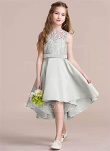 a line princess scoop neck asymmetrical satin junior With junior wedding dresses