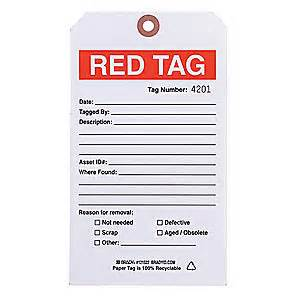 "BRADY 5S Red Tag, 5 S Red, Cardstock, 4"" x 7"" - 41F339"