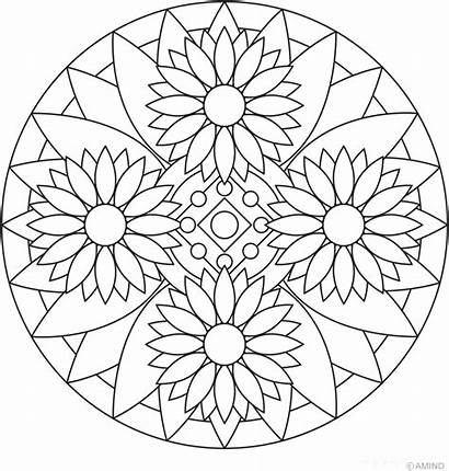 Mandala Coloring Pages Flower Meditation Rose Printable