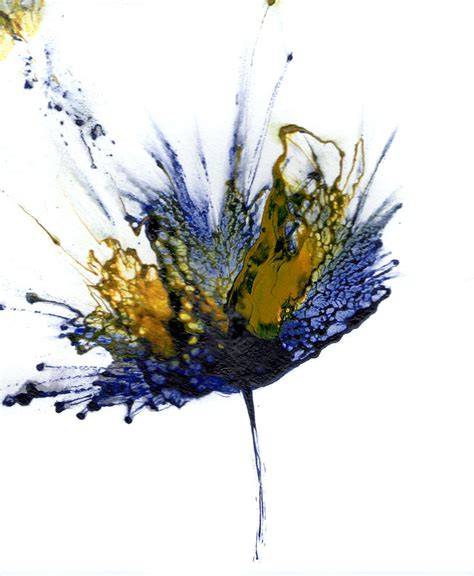 Abstract Black Flower Painting by Abstract Flower Navy Blue Yellow 1 Painting By Catherine