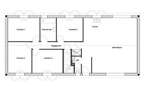 plan de maison plain pied 4 chambres avec garage plan maison 4 chambre plan de maison familiale avec 4