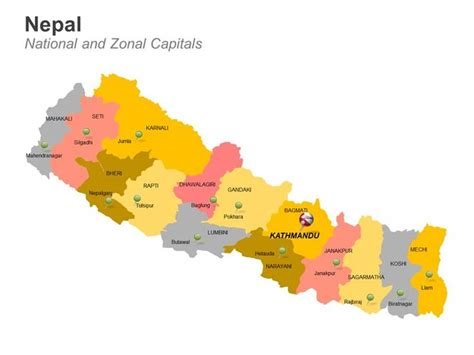 nepal map districts powerpoint template  deck