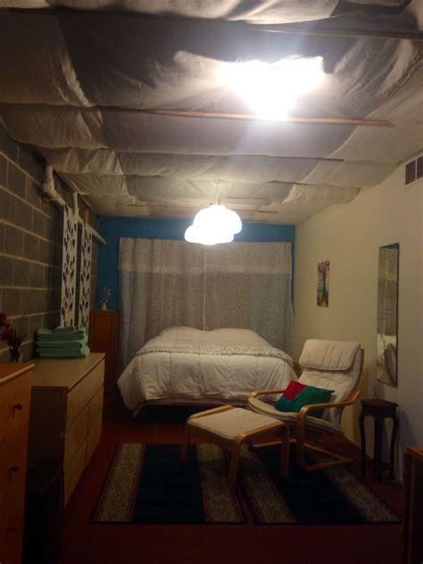 diy basement ceiling cover  sheets  staple
