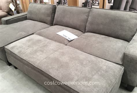 sectional with chaise and ottoman chaise sofa with storage ottoman costco weekender