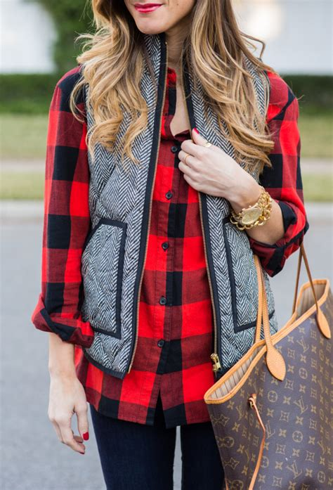 Casual Fall Outfit Herringbone Vest And Plaid Riding Boots