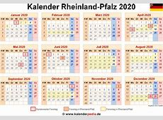 Kalender 2020 RheinlandPfalz Ferien, Feiertage, PDFVorlagen