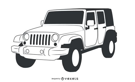 jeep vector black white hand traced jeep wrangler vector download