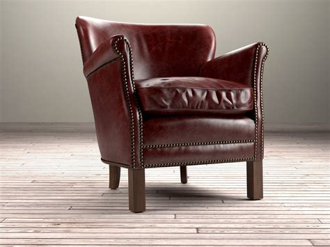 restoration hardware professor chair professor s leather chair with nailheads 3d model