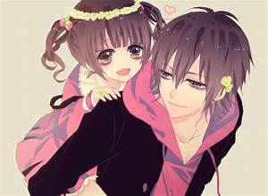 anime girl with anime boy giving piggy back | Pretty anime ...