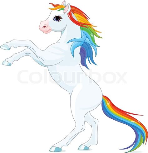 rainbow mane  tail horse reared  stock vector