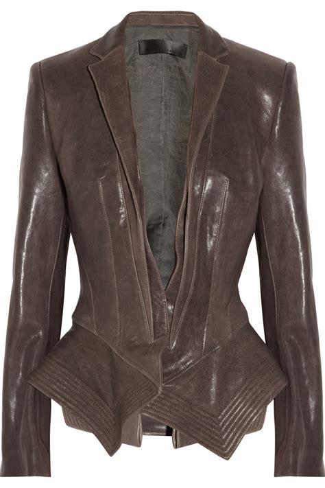 lyst haider ackermann leather peplum jacket  brown