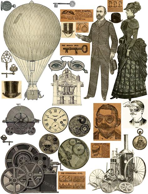 steampunk elements digital collage sheet printable