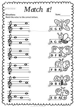 treble clef note naming worksheets  spring