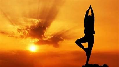 Yoga Background Nature Sunset Silhouette Orange Classes