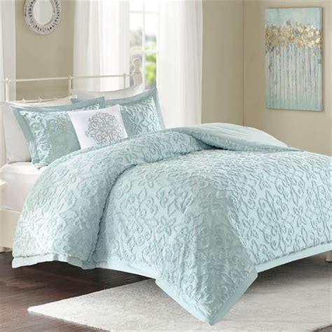 lily pale aqua cotton chenille  pc comforter bed set