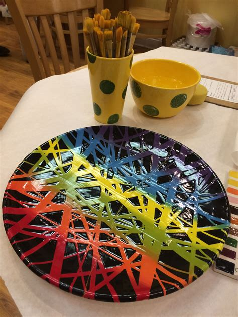 color me mine ridgewood cool design plates and bowls pottery