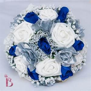 Royal blue and silver wedding bridal bouquet by ...