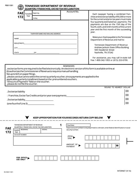 form fae 172 quarterly franchise excise tax declaration tennessee department of revenue