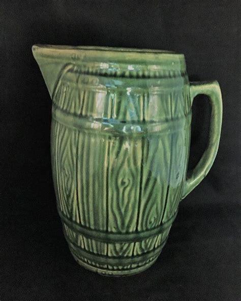 Antique Green Barrel Primitive Water Or Milk Pitcher