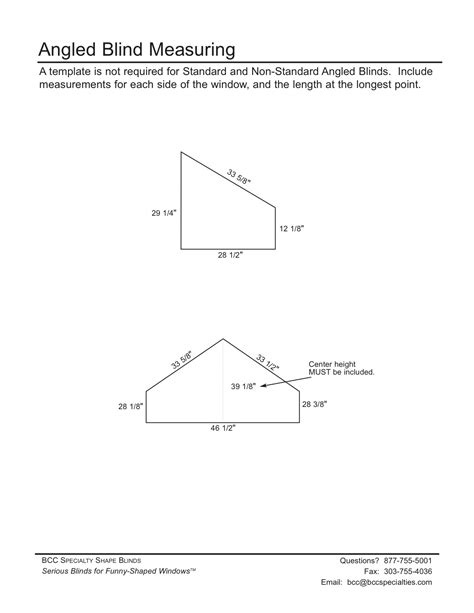 BCC Specialties :: Measure & Template Instructions
