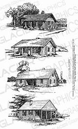 Cabin Clipart Printable Illustrations Vector Drawings Copyright Clip Coloring Woods Barn Log Pages Cabins Drawing Etsy Webstockreview Wood Adult Illustration sketch template