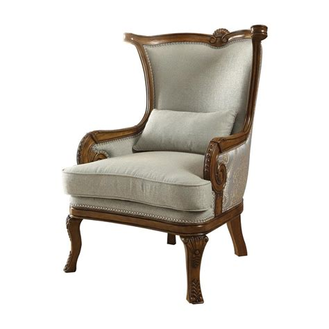 Accent Chairs by Acme Furniture Darian Light Blue Fabric And Brown Accent