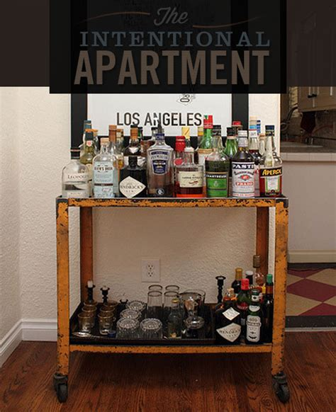 Home Bar Apartment by The Intentional Apartment Assembling The Bar Cart