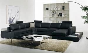 Sofa Große Liegefläche : schwarz leder sofa moderne gro e gr e u f rmigen sofa set mit licht ~ Indierocktalk.com Haus und Dekorationen