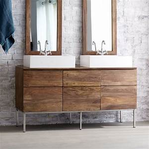 meuble double vasque de design moderne en 60 exemples With meuble double vasque bois massif