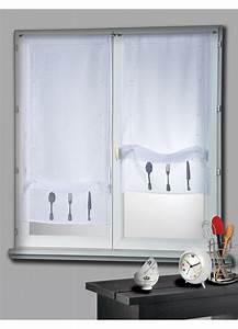 Kit Rayure Vitrage : paire de vitrage etamine blanc remonter motifs couverts ~ Premium-room.com Idées de Décoration