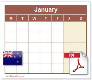 nz calendar  printable calendar