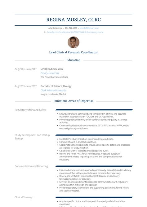 Clinical Resume Exles by Clinical Research Coordinator Resume Sles Templates