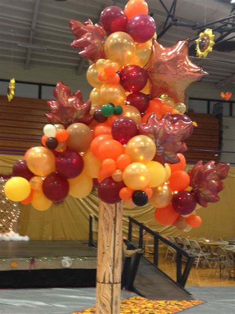 fall balloon tree  shs  homecoming dance theme