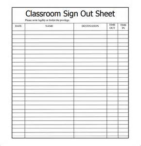 sign out sheet template 9 free sles exles format