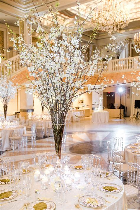 Giant Cherry Blossom Centerpieces Hint at This Couple's