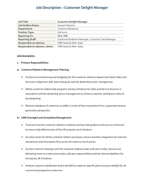 Job Description  Customer Delight & Process Manager