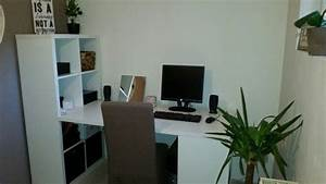 My New Desk Made With 2 Ikea Kallax And 1 Linnom Top