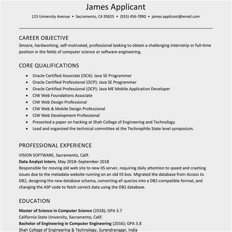 collection   college graduate resume format