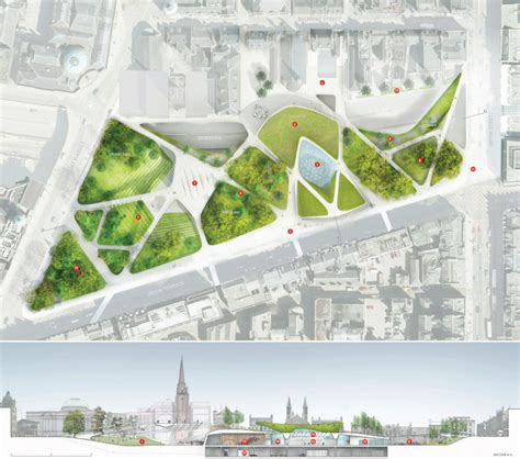 landscape plan rendering diller scofidio renfro selected to transform the center of aberdeen archdaily