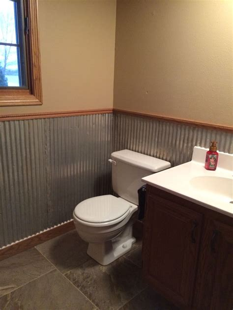 galvanized tin   wainscoting   bath
