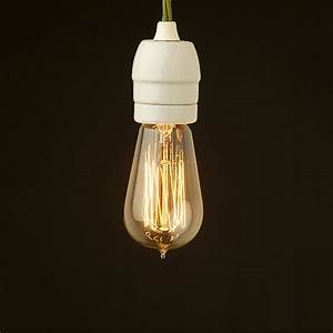 Edison style light bulb and e white porcelain fitting