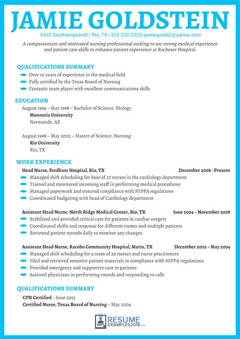 Great Nursing Resumes by Exles Of Nursing Resume Oursearchworld