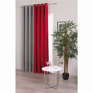 Rideau Rouge Et Noir : rideau satin gris 140x260cm ~ Melissatoandfro.com Idées de Décoration