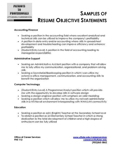 accounting resume objective statement exles