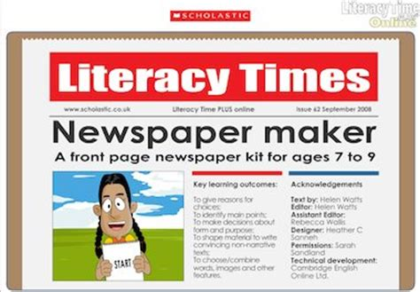 Children can use this template when writing a news report. Newspaper maker interactive resource (ages 7-9) - Primary KS2 teaching resource - Scholastic