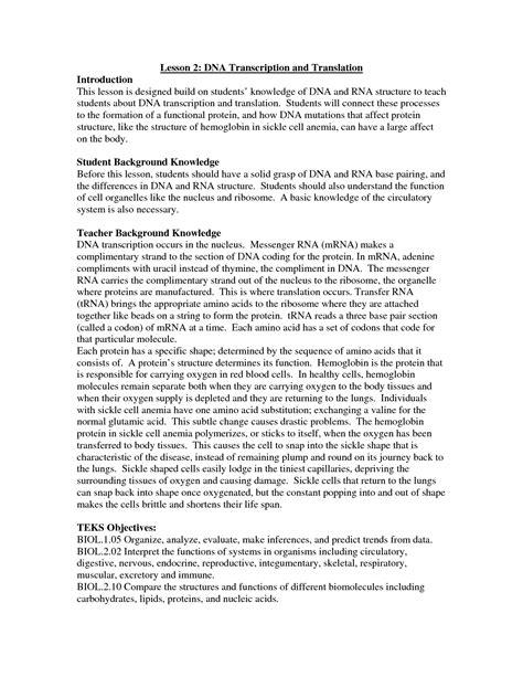 images  transcription  translation worksheet