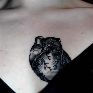 Black Ink Real Heart Tattoo Design | Tattooshunt.com
